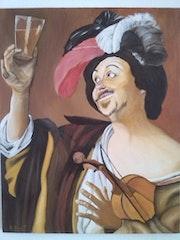 Peinture à l'huile sur toile de 48 X 60 cm, oil painting on canvas 48 X 60 cm.