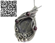 Trilobite Fossil and Almandine Garnet Wire-Wrapped Pendant.
