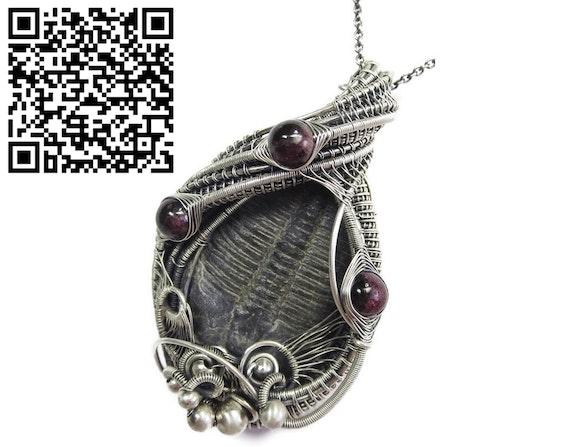 Trilobite Fossil and Almandine Garnet Wire-Wrapped Pendant. Heather Jordan Heather Jordan Jewelry