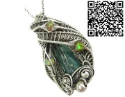 Natural Colombian Emerald Crystal and Ethiopian Opal Pendant. Heather Jordan Jewelry