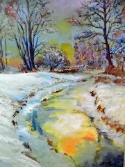 Ruisseau sous la neige.
