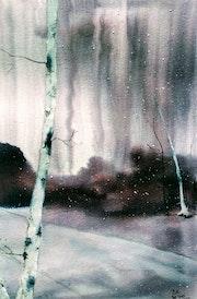 Leichter Schneefall auf dem Weg ins Dorf. Diana Knepper