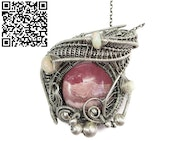 Rhodochrosite Wire Wrap Pendant with Ethiopian Welo Opals. Heather Jordan Jewelry