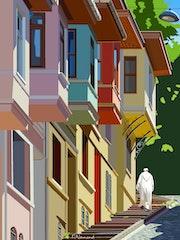 2020-10-25 Istanbul-Vieille ville-maisons colorées en bois. Michel Normand