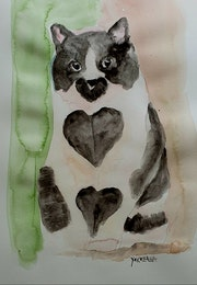 Aquarelle le chat coeur.