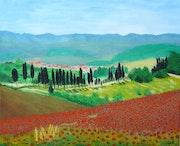 La campagne toscane au printemps.