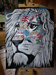 Fantasy lion painted in acrylic.