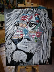 Fantasy lion painted in acrylic. Wolfgang Bröder