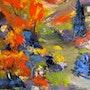 Huile sur toile Paysage Automne 50x 50 cm. Anne Marie Maury