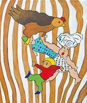 Der Koch, der Bäcker, die Henne und der Seiltänzer. Acrylfarbe. Neko92Vl - Lestoquoy