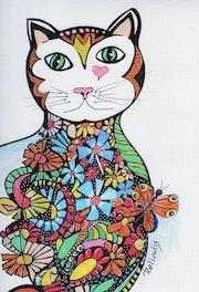Chat fleuri au papillon.