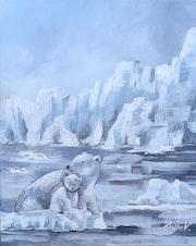 Banquise, un ours blanc et son petit. Clairev. Une Pause Bonheur