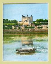 Le bateau promenade sur la Loire devant le château de Saumur. So Rémy