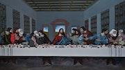 Tableau de jésus la sainte cène, 137x85 cm signe joky kamo.