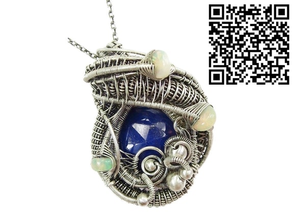 Lapis Lazuli Wire-Wrapped Pendant with Ethiopian Welo Opals. Heather Jordan Heather Jordan Jewelry