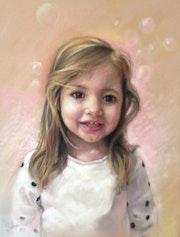 Portrait d'enfant pastels secs.