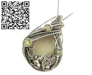 Libyan Desert Glass Wire-Wrapped Pendant with Ethiopian Welo Opals. Heather Jordan Jewelry