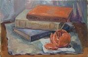 Натюрморт состоящий из 3 книг и мандарина.