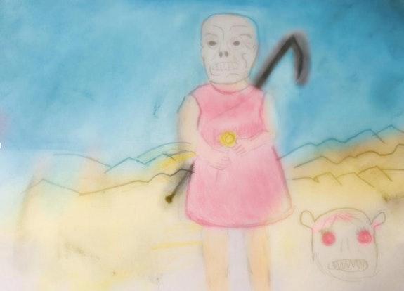 Niña con máscara de muerte (apropiación). Ariel Alemán Colegio Isaac Rabin