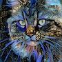Alma, cat - Mix media on panel - 70x50 cm-OOAK. Léa Roche