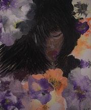 Femme malheureuse entourée de fleur. Layoub