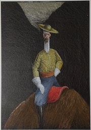 Don Quichotte sur une bête sauvage.