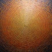Abstract painting: Large burst of orange gold colors.. Jonathan Pradillon