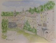 Aquarelle originale de Pont en Royans (26) - signée de l'artiste.