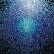 Tableau abstrait : Grand éclat couleurs bleu violet iridescent..