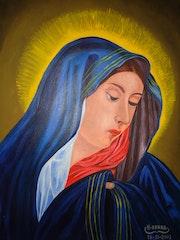 Peinture Vierge Marie, peinture à l'huile sur toile, année / 2003 /.