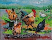 «Le coq et ses poules».