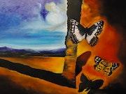 Peinture paysage au papillon, par joky kamo.