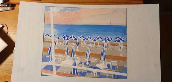 Les parasols.  Danièle Legrain
