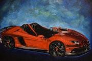 Lamborghini aventador peinture, signée joky kamo.