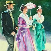Trio Arlésiens robe rose et robe verte homme au canotier.
