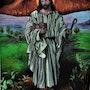 Peinture jésus le sauveur, originale signe joky kamo. Joky Kamo
