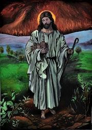 Peinture jésus le sauveur, originale signe joky kamo.