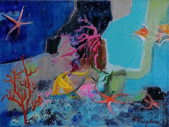 Poisson jaune dans aquarium. Pascale Stephan