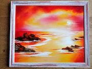 Coucher de soleil rougeoyant. Suzanne Monnot