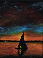 Coucher de soleil en petit bateau.