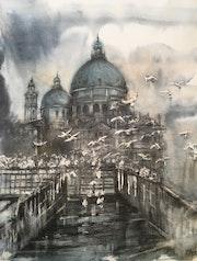 Venise- Santa Maria della Salute dans le brouillard.