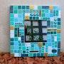 Miroir mosaique carré bleu. Melandynemosaic