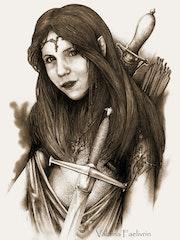 Portrait de ma nièce qui aime les Elfes. Dominique Roy