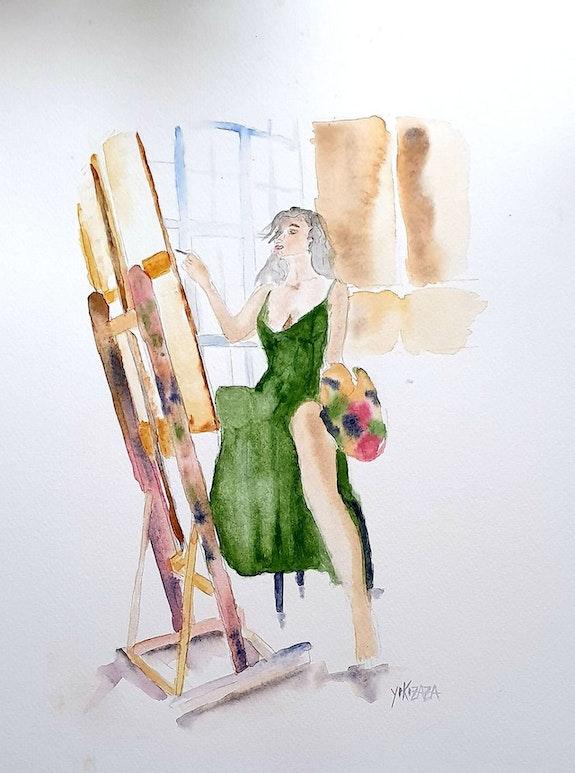 Aquarelle la femme peintre. Yokozaza Yokozaza