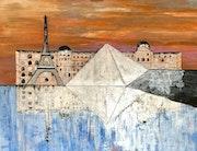 Peinture paysage urbain abstrait acrylique déco Normina.