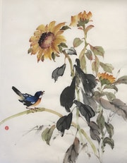 Sunflowers and Blue Bird.