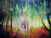 Forest Elemental is an oil on canvas of a large deer stag in an autumn forest.