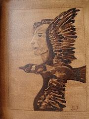 La femme et l'oiseau.