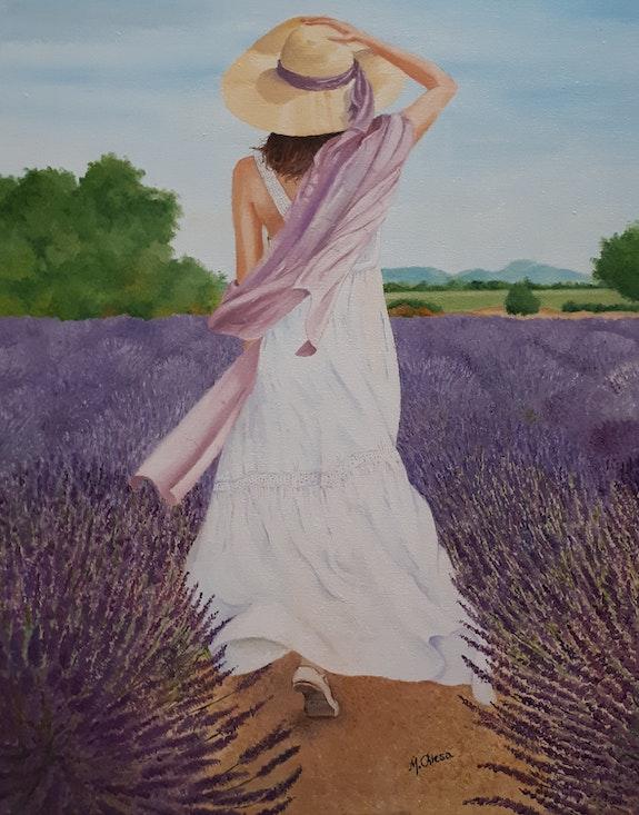 Jeune femme dans un champ de lavande. Maurice Chiesa Maurice Chiesa