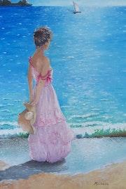 Jeune fille de dos, face à la mer. Maurice Chiesa
